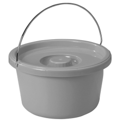 Round Commode Pot with Handle and Lid - 10