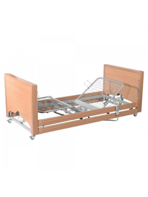 Full Nursing Bed, Low, HiLo, 4-Section Profile With Wooden Ends