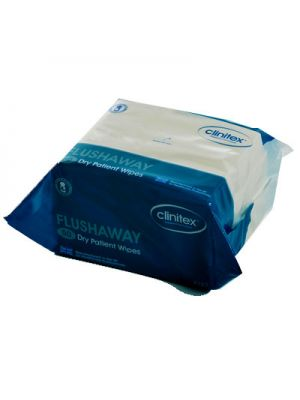 Clinitex Flushaway Dry Patient Wipes x 8 Packs