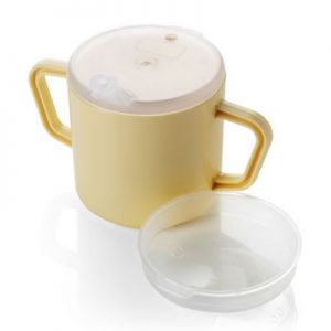 Two Handle Drinking Cup with Spout Lid & Feeder Lid