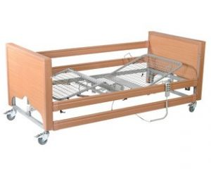 Full Nursing Bed, HiLo, 4-Section Profile - Wooden Ends & Side Rails