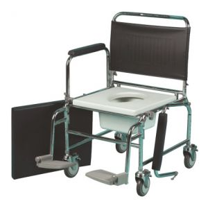 Extra Wide, Steel, Mobile Commode, 4 Caster wheels