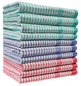 Checked Rice Weave Tea Towel 50x70 Various Colours (Pack of 10)