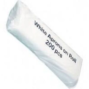 Aprons, disposable, White, On roll, Pkt 200